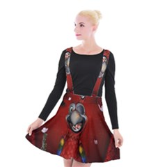 Funny, Cute Parrot With Butterflies Suspender Skater Skirt