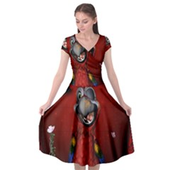 Funny, Cute Parrot With Butterflies Cap Sleeve Wrap Front Dress