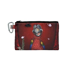 Funny, Cute Parrot With Butterflies Canvas Cosmetic Bag (small)