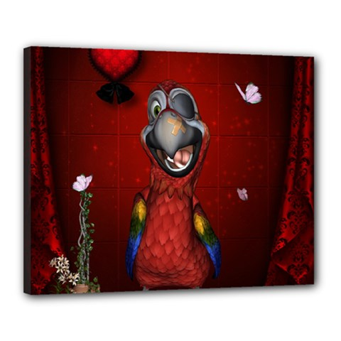 Funny, Cute Parrot With Butterflies Canvas 20  X 16