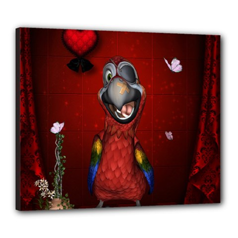 Funny, Cute Parrot With Butterflies Canvas 24  X 20