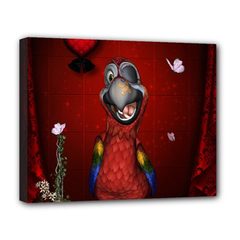 Funny, Cute Parrot With Butterflies Deluxe Canvas 20  X 16