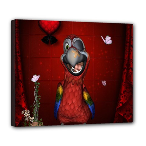 Funny, Cute Parrot With Butterflies Deluxe Canvas 24  X 20