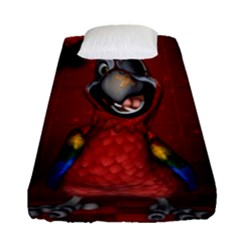Funny, Cute Parrot With Butterflies Fitted Sheet (single Size)