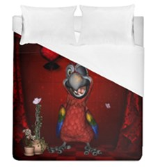 Funny, Cute Parrot With Butterflies Duvet Cover (queen Size)