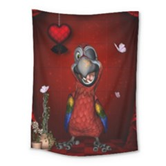 Funny, Cute Parrot With Butterflies Medium Tapestry