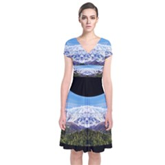Mountaincurvemore Short Sleeve Front Wrap Dress