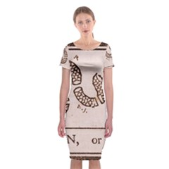 Original Design, Join Or Die, Benjamin Franklin Political Cartoon Classic Short Sleeve Midi Dress