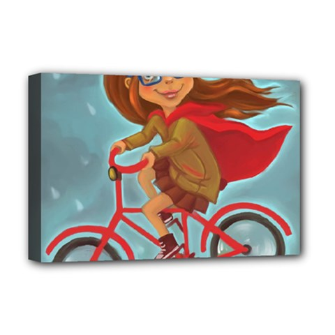Girl On A Bike Deluxe Canvas 18  X 12
