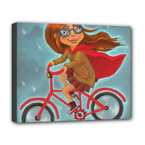 Girl On A Bike Deluxe Canvas 20  X 16
