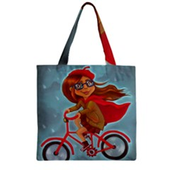 Girl On A Bike Zipper Grocery Tote Bag