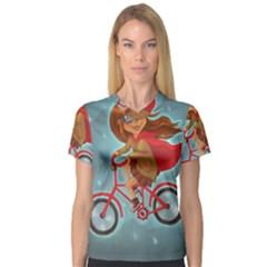 Girl On A Bike V Neck Sport Mesh Tee