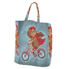 Girl On A Bike Giant Grocery Zipper Tote