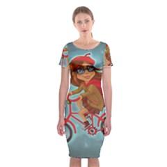 Girl On A Bike Classic Short Sleeve Midi Dress