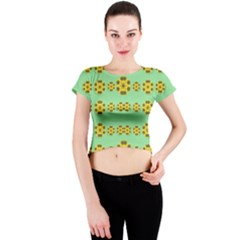 Sun Flowers For The Soul At Peace Crew Neck Crop Top
