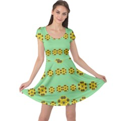 Sun Flowers For The Soul At Peace Cap Sleeve Dress