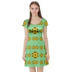 Sun Flowers For The Soul At Peace Short Sleeve Skater Dress