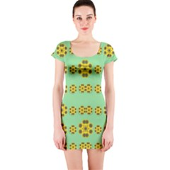 Sun Flowers For The Soul At Peace Short Sleeve Bodycon Dress