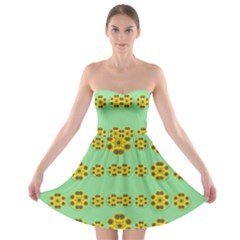 Sun Flowers For The Soul At Peace Strapless Bra Top Dress