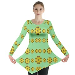 Sun Flowers For The Soul At Peace Long Sleeve Tunic