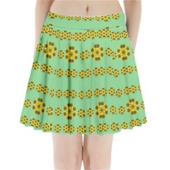Sun Flowers For The Soul At Peace Pleated Mini Skirt
