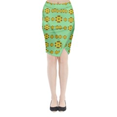 Sun Flowers For The Soul At Peace Midi Wrap Pencil Skirt