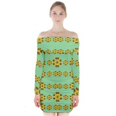 Sun Flowers For The Soul At Peace Long Sleeve Off Shoulder Dress