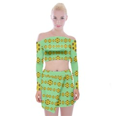 Sun Flowers For The Soul At Peace Off Shoulder Top With Mini Skirt Set