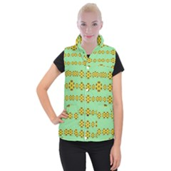 Sun Flowers For The Soul At Peace Women s Button Up Puffer Vest