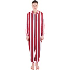 Red Stripes Hooded Jumpsuit (ladies)