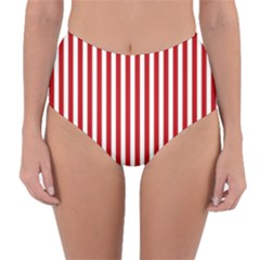 Red Stripes Reversible High Waist Bikini Bottoms