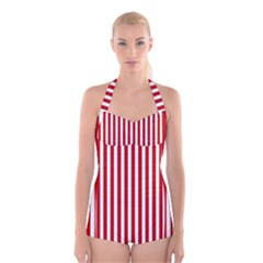 Red Stripes Boyleg Halter Swimsuit