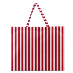 Red Stripes Zipper Large Tote Bag