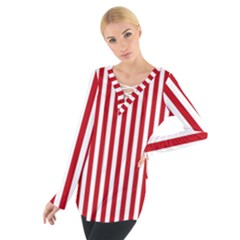 Red Stripes Tie Up Tee