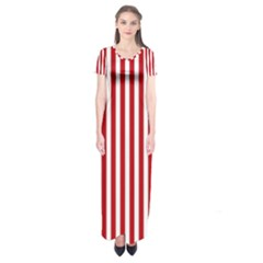 Red Stripes Short Sleeve Maxi Dress