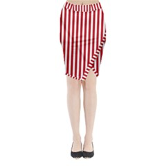Red Stripes Midi Wrap Pencil Skirt