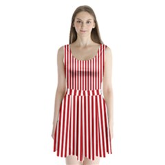 Red Stripes Split Back Mini Dress