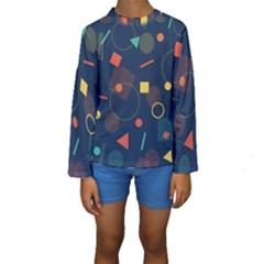 Blue Background Backdrop Geometric Kids  Long Sleeve Swimwear