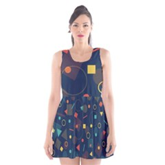 Blue Background Backdrop Geometric Scoop Neck Skater Dress