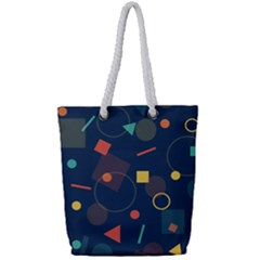 Blue Background Backdrop Geometric Full Print Rope Handle Tote (small)