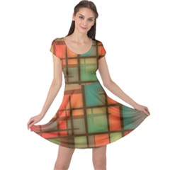Background Abstract Colorful Cap Sleeve Dress
