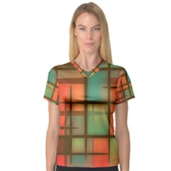 Background Abstract Colorful V Neck Sport Mesh Tee