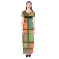 Background Abstract Colorful Short Sleeve Maxi Dress