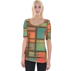Background Abstract Colorful Wide Neckline Tee