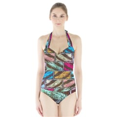 Colorful Painted Bricks Street Art Kits Art Halter Swimsuit