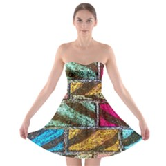 Colorful Painted Bricks Street Art Kits Art Strapless Bra Top Dress