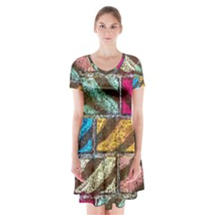 Colorful Painted Bricks Street Art Kits Art Short Sleeve V Neck Flare Dress