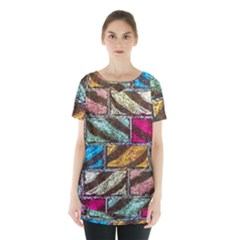 Colorful Painted Bricks Street Art Kits Art Skirt Hem Sports Top
