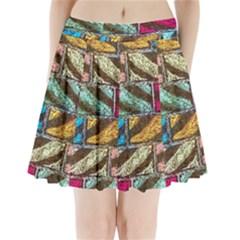 Colorful Painted Bricks Street Art Kits Art Pleated Mini Skirt