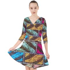 Colorful Painted Bricks Street Art Kits Art Quarter Sleeve Front Wrap Dress